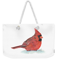 Weekender Tote Bag featuring the painting Mr Cardinal by Betsy Hackett
