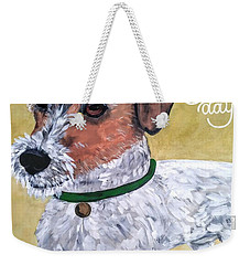Weekender Tote Bag featuring the painting Mr. R. Terrier by Reina Resto