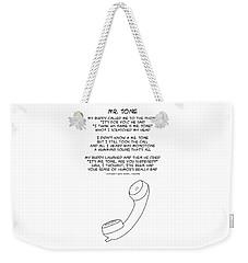 Weekender Tote Bag featuring the drawing Mr Tone by John Haldane