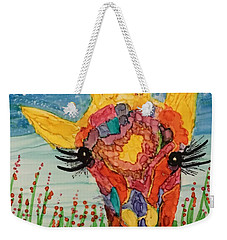 Weekender Tote Bag featuring the painting Mrs Giraffe by Suzanne Canner