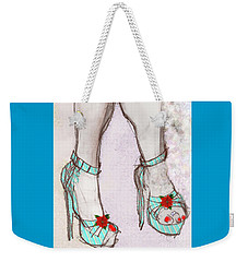 Weekender Tote Bag featuring the painting Ms Cindy's Shoes With Poinsettas by Carolyn Weltman