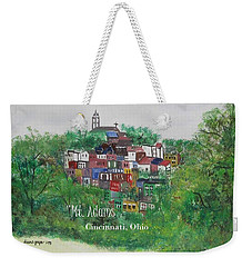 Mt Adams Cincinnati Ohio With Title Weekender Tote Bag