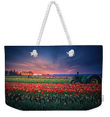 Weekender Tote Bag featuring the photograph Mt. Hood And Tulip Field At Dawn by William Lee