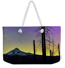 Weekender Tote Bag featuring the photograph Mt. Jefferson Bathed In Auroral Light by Cat Connor