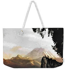 Weekender Tote Bag featuring the photograph Mt. Rainier In Lace by Sadie Reneau