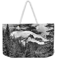 Weekender Tote Bag featuring the photograph Mt Rainier View - Bw by Stephen Stookey