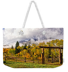 Mt Sopris Under The Clouds Weekender Tote Bag by Ronda Kimbrow