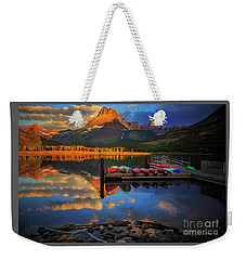 Mt. Wilbur And Swiftcurrent Lake Morning Weekender Tote Bag by Craig J Satterlee