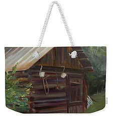 Weekender Tote Bag featuring the painting Mulberry Farms Grainery by Donna Tuten