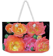 Weekender Tote Bag featuring the photograph Multi-color Roses by Jerry Battle