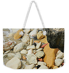multi colored Beach rocks Weekender Tote Bag by Expressionistart studio Priscilla Batzell