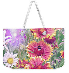 Multi Coloured Flowers With Bee Weekender Tote Bag by Lynn Bolt