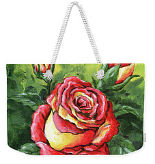 Multi Coloured Rose Sketch Weekender Tote Bag