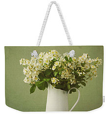 Multiflora Rose In A Rustic Vase Weekender Tote Bag by Diane Diederich