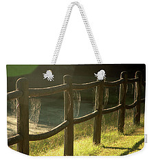Multiple Spiderwebs On Wooden Fence Weekender Tote Bag