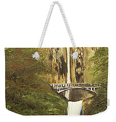 Weekender Tote Bag featuring the mixed media Multnomah Falls by Angela Stout