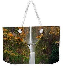 Multnomah Falls In Autumn Colors -panorama Weekender Tote Bag by William Lee