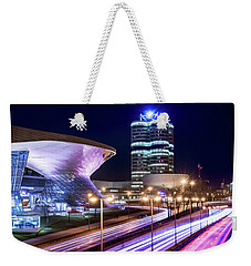 Weekender Tote Bag featuring the pyrography Munich - Bmw City At Night by Hannes Cmarits