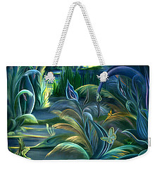Weekender Tote Bag featuring the painting Mural  Insects Of Enchanted Stream by Nancy Griswold