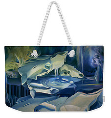 Weekender Tote Bag featuring the painting Mural Skulls Of Lifes Past by Nancy Griswold