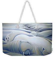 Weekender Tote Bag featuring the painting Mural  Winters Embracing Crevice by Nancy Griswold