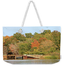 Weekender Tote Bag featuring the photograph Murphy Mill Dam/bridge by Jerry Battle