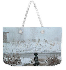 Murphy Watches The Deer Weekender Tote Bag by Eric Tressler
