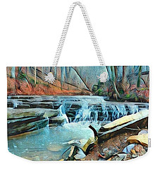 Muscatatuck Falls Touch Of Blue Abstract Weekender Tote Bag