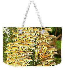 Weekender Tote Bag featuring the photograph Mushroom Colony Photo Art by Sharon Talson