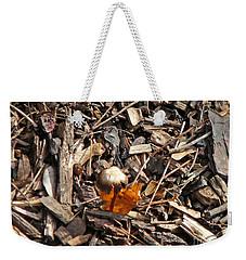 Mushroom With Autumn Leaf Weekender Tote Bag
