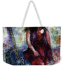 Weekender Tote Bag featuring the digital art Music Feeds Her Spirit Too by Claire Bull