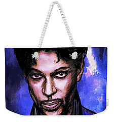 Weekender Tote Bag featuring the painting Music Legend  Prince by Andrzej Szczerski