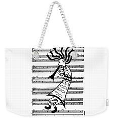 Weekender Tote Bag featuring the painting Music Man Kokopelli by Susie WEBER