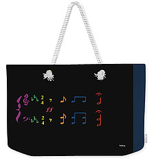 Weekender Tote Bag featuring the digital art Music Notes 35 by David Bridburg