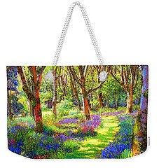 Weekender Tote Bag featuring the painting Music Of Light, Bluebell Woods by Jane Small