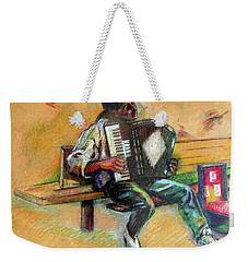 Musician With Accordion Weekender Tote Bag by Stan Esson