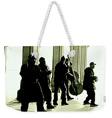 Weekender Tote Bag featuring the photograph Musicians In The Park by Sandy Moulder