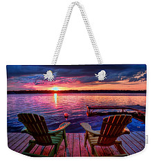 Weekender Tote Bag featuring the photograph Muskoka Chair Sunset by Michaela Preston