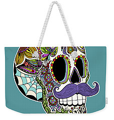 Mustache Sugar Skull Weekender Tote Bag
