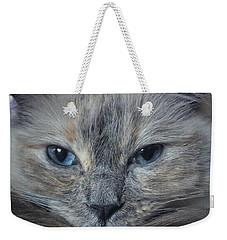 Mustachioed Cat Weekender Tote Bag by Karen Stahlros