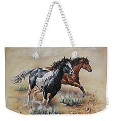 Weekender Tote Bag featuring the painting Mustang Glory by Kim Lockman