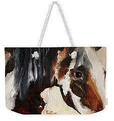 Weekender Tote Bag featuring the painting Mustang In My Heart by Barbie Batson