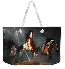 Weekender Tote Bag featuring the digital art Mustangs Of The Storm by Daniel Eskridge