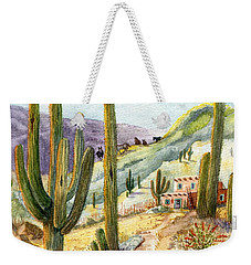 Weekender Tote Bag featuring the painting My Adobe Hacienda by Marilyn Smith