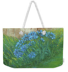 Weekender Tote Bag featuring the painting My Backyard by Jane See