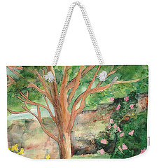 Weekender Tote Bag featuring the painting My Backyard by Vicki  Housel