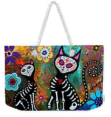 My Cats Dia De  Los Muertos Weekender Tote Bag by Pristine Cartera Turkus