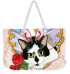 Weekender Tote Bag featuring the painting My Feline Valentine Tuxedo Cat by Carrie Hawks