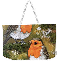 Weekender Tote Bag featuring the painting My Friends Robins by Inese Poga