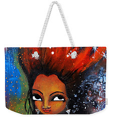 Weekender Tote Bag featuring the mixed media My Hair Is Being Pulled By The Stars  by Prerna Poojara